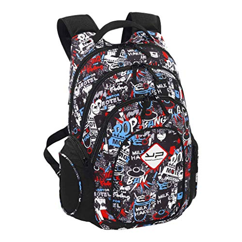Pop, College & College School Backpack, Black, Unisex, 3 Compartments, 3 Pockets (1 Zip Front Pouch 2 Pockets on Each Side)