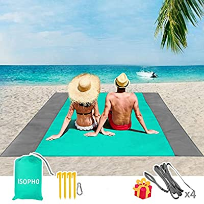 ISOPHO Outdoor Beach Blanket 79'' x 83'' Waterproof Picnic Blanket, Extra Large Lightweight Beach Mat, Compact Pocket Blanket, Sand Proof Mat for Travel, Camping, Hiking - with 4 Portable Tent Pegs