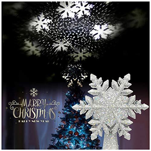 Weihnachtsbaumspitze Stern, LED Schneeflocken Projektor Weihnachtsbaum Baumspitze Innennachtlicht-Projektor Christbaumspitze Beleuchtet für Weihnachten Party Dekoration(Silber)
