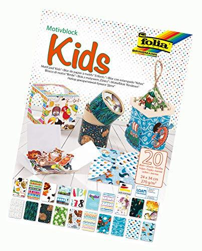 folia 48949 - Motivblock Kids, 270 g/qm, ca. 24 x 34 cm, 20 Blatt sortiert in 20 verschiedenen Motiven - zum Basteln und kreativen Gestalten von Karten, Fensterbildern und für Scrapbooking und -ideen
