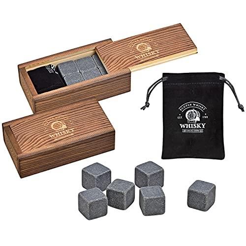 WOMA Whisky Steine Set - 6 & 12 Eiswürfel wiederverwendbar aus Basalt mit Samtbeutel und hochwertiger Holzbox - Whiskey Steine Geschmacksneutral & Kein Verwässern für Whiskey, Wodka, Gin & Mehr