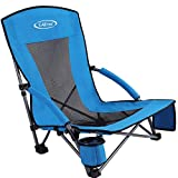 G4Free Low Sling Folding Beach Chair Camping Chairs Compact Concert Lumbar Back Support Festival Chair with Carry Bag