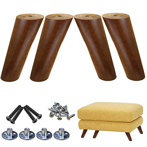 AORYVIC Wood Anlged Furniture Legs 6 inch, Slanted Round Sofa Replacemet Couch Legs Brown Pack of 4