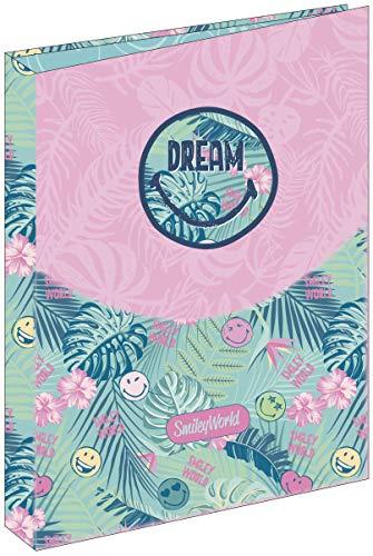 Carpeta 4 Anillas Smiley Dream | Archivador 4 Anillas A4 Escolar, Carpeta Clasificadora Anillas Juvenil con Tapa Dura de Cartón Medidas 26,5 x 34,5 x 5 cm