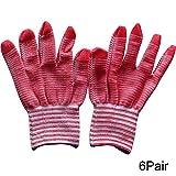 HUI JIN Guantes de trabajo de nailon elásticos, guantes antiestáticos antideslizantes para lavado, limpieza del coche, limpieza del hogar, 6 pares