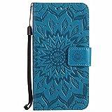 Dfly Funda Huawei Y5 2017 / Y6 2017, PU Cuero Diseñado en Relieve Datura Flores Carcasa Invisible Fuerte Hebilla Magnética de Imán Super Delgado Flip Folio Caja Cartera, Azul