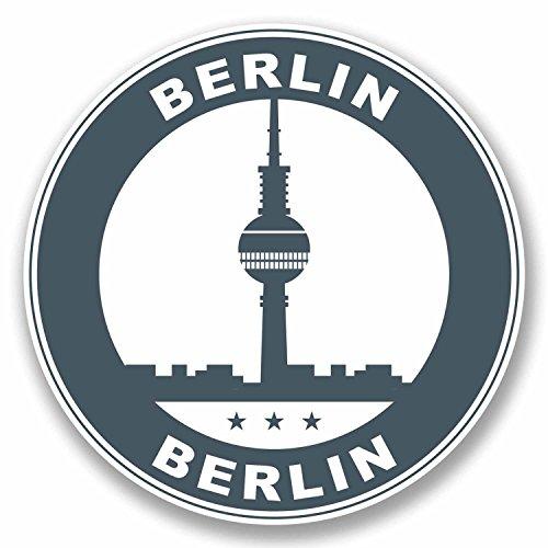 2x 10cm Berlin Allemagne Sticker en vinyle de voyage bagages Tag Étiquette Allemand Fun # 9800 - 10cm Wide x 10cm High