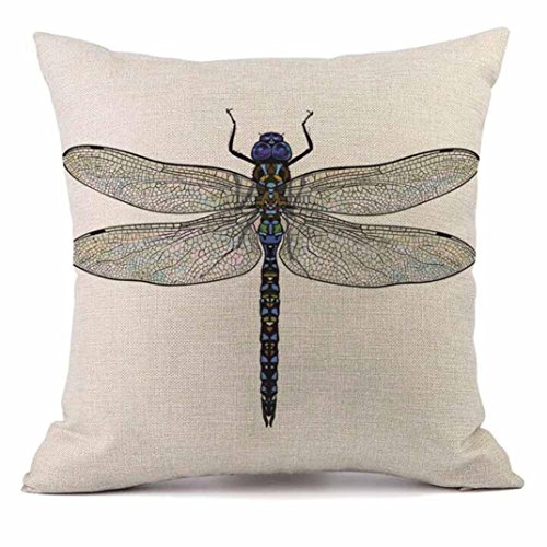 Indexp Dragonfly Cushion Cover, Art Countryside Sofa Home Decoration Throw Pillow Case Gift Set (Style F)