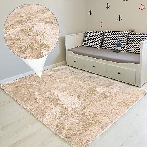Tapis Salon Shaggy - Descente de lit Chambre Grande Taille Tapis Poils Longs Moderne tapid Moquette Poil Long tapi (Beige, 120 x 160 cm)