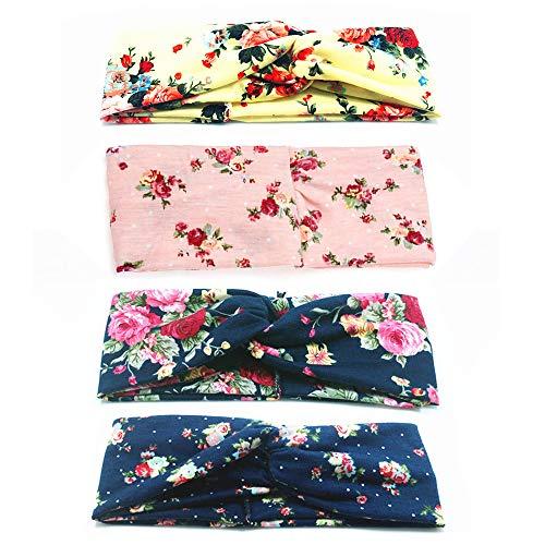 Gobesty 6 stks Boho Hoofdbanden voor Vrouwen, Brede Haarband Vintage Kruis Elastische Bloem Gedrukt Twisted Knot Haaraccessoires voor Outdoor Dagelijks dragen M roze
