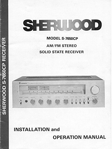 Sherwood S-7650CP Receiver Owners Instruction Manual Reprint [Plastic Comb]