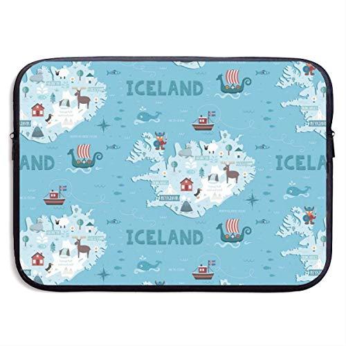 Iceland Map Laptop Sleeve met Rits 13
