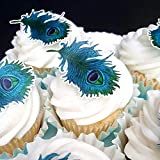 CHOCKACAKE 30x Edible Wafer Paper Blue Peacock Feather for Cake Cupcake Toppers/Decorations Wedding Party Cake Decoration