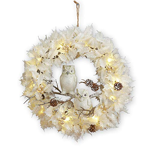 Collections Etc Lighted White Christmas Wreath w/Owls