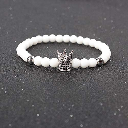 Pulsera Joyas Bracelet Trendy Imperial Crown Charm Bracelets Men Natural Stone Stone Beads For Women Men Jewelry Pulsera Hombres Gold