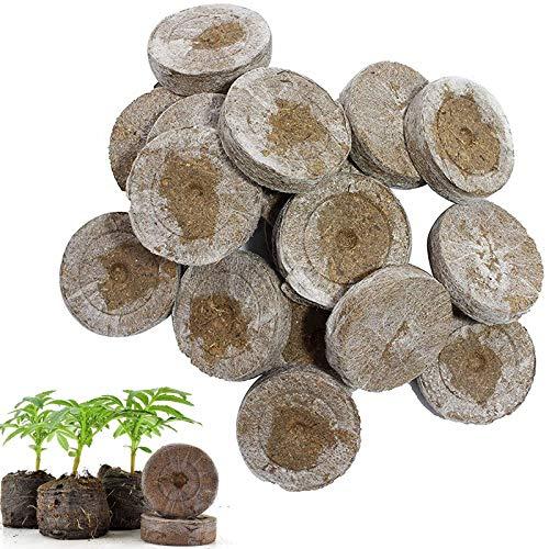 FDCAI Anzuchterde,Kokos Quelltabletten Mit Nährstoffen,Torfpellets Saatboden für die Samenkeimung, Premium Quelltabs aus Anzuchterde torffrei, Samen Dünger Nährstoffblock Druck Torf-Block (50pcs)
