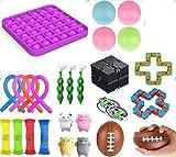Geagodelia Sensory Fidget Toy Set Juguetes de oficina para niños Adultos Stress Squeeze Toys con Pea Shell Squishy Ball Infinity Cube Fidget Rings (26PCS Set B)