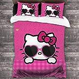 NBAOBAO Hello Kitty Bettwäsche Set,Weicher & Warmer Bettbezug,Mädchen Bettbezug-Set,2 Kissenbezüge 80 x 80 cm (Hello Kitty-1, 135x200cm+80x80cmx2)