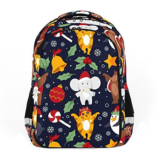 Animales divertidos de Navidad, dibujos animados coloridos perfectos para la escuela y las mochilas de viaje, mochilas de estudiantes perfectas para todas las edades