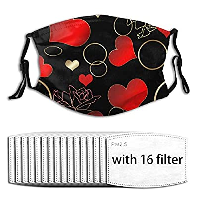 Roses and Rings Reusable Activated Carbon Filter Face Shield With 16 Filter Replaceable for Men Women