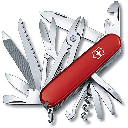 GYAM Handyman Swiss Army Pocket Knife, Medium, Multi Tool, 24 Functions, Large Blade, Metal Saw, Red