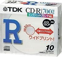 TDK CD-Rデータ用700MB 48倍速ホワイトプリンタブル(ワイド) 5mm厚ケース入り10枚パック [CD-R80PWDX10S]