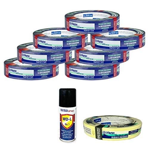 Cinta de carrocero de 38 mm x 50 m, pack de 7 unidades, diseño de delfín azul, 14 días de fácil extracción de pintores, cinta de carrocero (oryginal) + regalos exclusivos