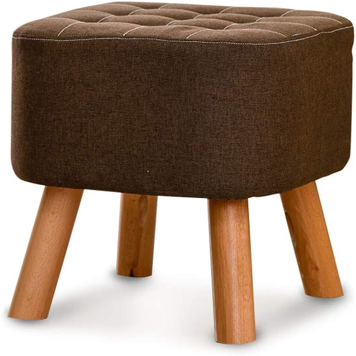 Solid Wood shoes Bench, Upholstered Comfortable Seat, Stylish shoes Bench, Square Seat, Wooden Leg (color   Brown)
