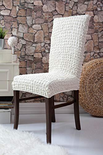 Mixibaby Fiora Stretch Stuhlhusse Stuhlbezug Elastische Husse Dekoration Stuhl Husse aus Elastik-Stoff für universelle Passform, Farbe:Weiß