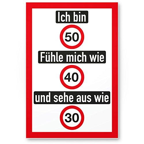 DankeDir! Ich bin 50 Jahre (nett) Kunststoff Schild - Geschenk 50. Geburtstag Geschenkidee Geburtstagsgeschenk Fünzigsten Geburtstagsdeko Partydeko Party Zubehör Geburtstagskarte