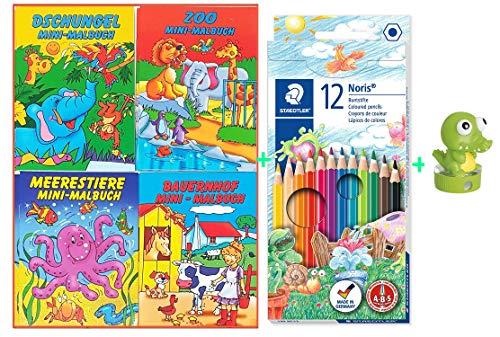 Libetui Malbücher Mini Malbuch b6 17,6 x12,5cm Kinderbeschäftigung Zuhause Hochzeit Hort Geschenk Kindergeburtstag Set 4 Malbücher + Buntstifte + Anspitzer Krokodil
