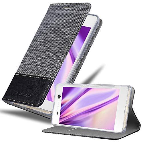 Cadorabo Hülle für Sony Xperia M5 - Hülle in GRAU SCHWARZ – Handyhülle mit Standfunktion & Kartenfach im Stoff Design - Hülle Cover Schutzhülle Etui Tasche Book