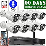 【6TB HDD Pre-Install 】 OOSSXX 8-Channel HD 1080P Wireless Security Camera System,8Pcs 1080P 2.0 Megapixel Wireless Indoor/Outdoor IR Bullet IP Cameras with One-Way Audio,P2P,App, HDMI Cord