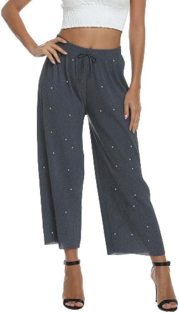brandless Pleated Pants Drawstring Elastic Waist Pleated Loose Flare Casual Pants