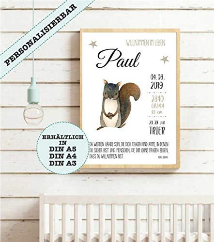 Geburtsbild Babybild Babyposter Geburtsanzeige | Geschenk zur Geburt | Patengeschenk | Kunstdruck | personalisierbar | 3 Größen | Eichhörnchen