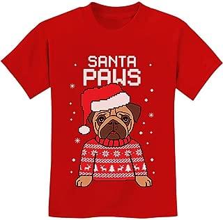 Tstars - Santa Paws Pug Ugly Christmas Sweater Dog Youth Kids T-Shirt