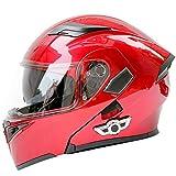 GGXX Klapphelm Integralhelm, Doppelhelm Mit Doppel-Sonnenblende, DOT-Zertifizierter Bluetooth Wireless FM-Integrierter Helm, Kann Das Gesicht öFfnen Und Den Helm Aufdecken