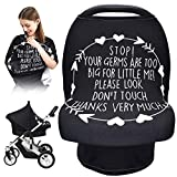 Car Seat Covers for Babies, Nursing Breastfeeding Cover Infant Carseat Canopy, Soft Stretchy Carrier Cover for Stroller High Chair Shopping Cart, Newborn Boy Girl Shower Gift - Stop No Touching Sign