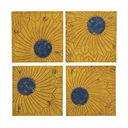 Benzara The Beautiful Wood Wall Plaque, Set of 4