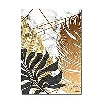 シンプルな抽象的なゴールデンの葉アートワークキャンバスプリント風景写真キャンバスの壁アート芸術作品の敷地内の寝室の家の装飾,F,20X25