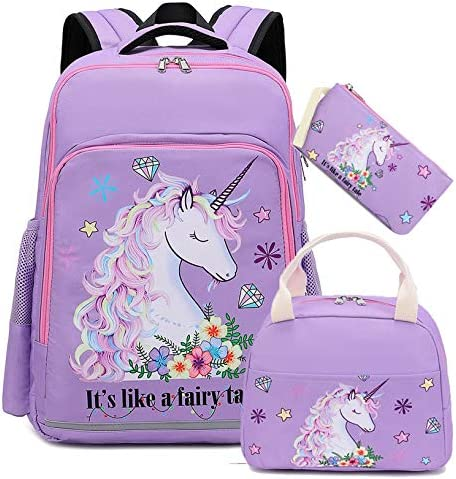 Girls Backpack Kids Elementary Bookbag Girly School Bag with Insulated Lunch Tote and Pencil product image