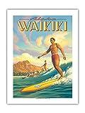 Aloha Waikiki Surf Diamond Head Oahu Honolulu, Hawaii – Póster de viaje a Hawaii de Kerne Erickson – Primer papel de bambú, impresión artística 43 x 56 cm