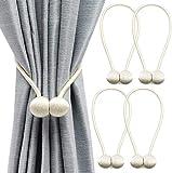 Yicswull Alzapaños magnéticos para cortinas, alzapaños decorativos, para casa, salón, dormitorio, oficina, 4 paquetes (blanco crema 4 paquetes)