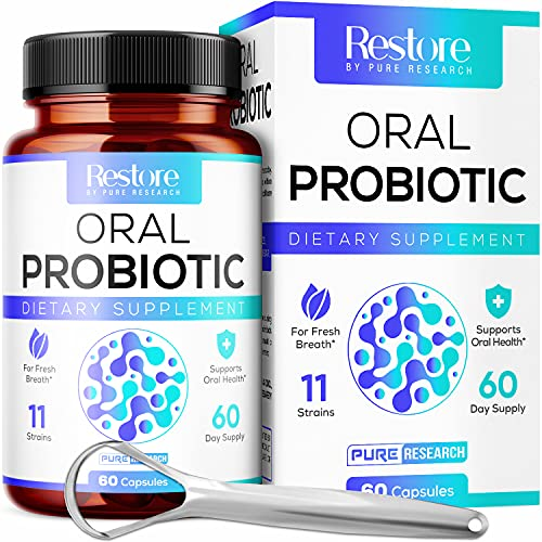 Dental Probiotic - 11 Probiotic Strains, Digestive Enzymes - Powerful Probiotic Blend - For support of Fresh Breath & for Oral health - Includes Tongue Scraper - 60 Day Supply