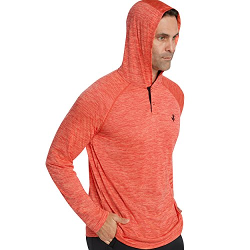Three Sixty Six Mens Hoodies Pullover - Long Sleeve Casual Hoodie for Men - Lightweight Thin Hooded Sweater T Shirt Fire Red