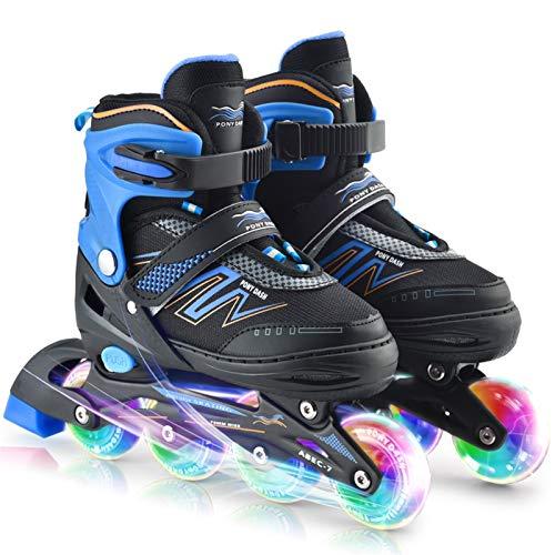 LDH Patines niño Patines en Línea, Patines para Niños Skates de Rodillos En Línea Ajustables PP Rodillo de Shell de Zapatos Anti-colisiones Zapatos de Patín Resistente Al Desgaste, Transpirable