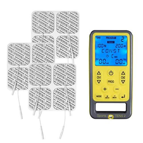 Tenscare Sports Tens 2+ Paquete de 12 Electrodos - Dispositivo de electroestimulación con Masaje, TENS, EMS y programas manuales. Para alivio del dolor, tonificación y relajación muscular.