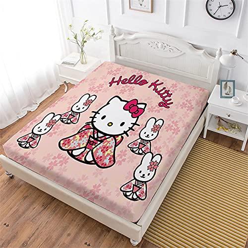 NFBZ Hello Kitty dra-på-lakan madrasskydd spännlakan 100 % mikrofiber dra-på-lakan påslakan Topper spännlakan (Hello Kitty #04, 180 x 200 cm)