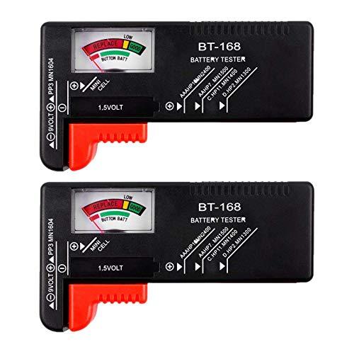 COMECASE Batterietester Prüfer - Batterietester Monitor für AAA, AA, C, D, 1,5V, 9V und kleine Batterien, Batterielebensdauerprüfer mit Spannungs-Leistungsmesser (2 Pack)…