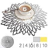 MANGATA Set de Table Dore Silver, Set de 10 Set de Table PVC Anti-dérapant Lavable...